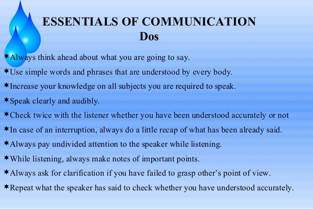 ESSENTIALS OF COMMUNICATION Dos Always think ahead about what you are going to say. Use simple words and phrases that ar...