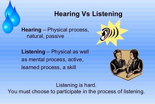 Hearing Vs Listening Hearing – Physical process, natural, passive Listening – Physical as well as mental process, active, ...