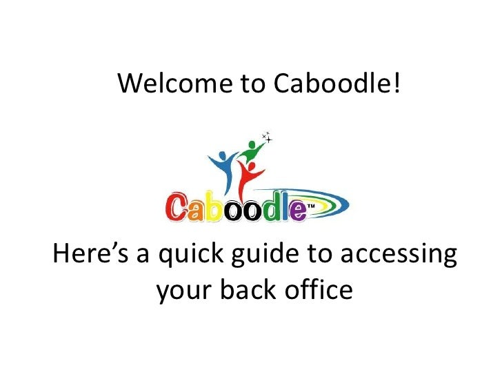Welcome to Caboodle!<br />Here's a quick guide to accessing your back office<br />