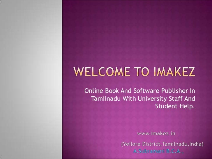 Online Book And Software Publisher In  Tamilnadu With University Staff And                       Student Help.