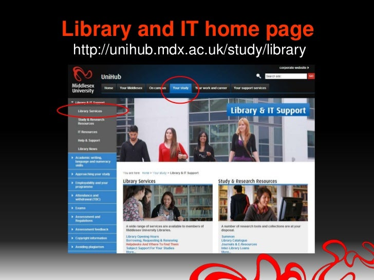 Library and IT home pagehttp://unihub.mdx.ac.uk/study/library<br />