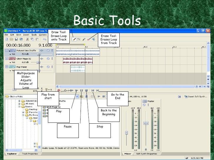Basic Tools Draw Tool: Draws Loop onto Track Erase Tool: Erases Loop from Track Multipurpose Slider: Adjusts Volume of Loo...