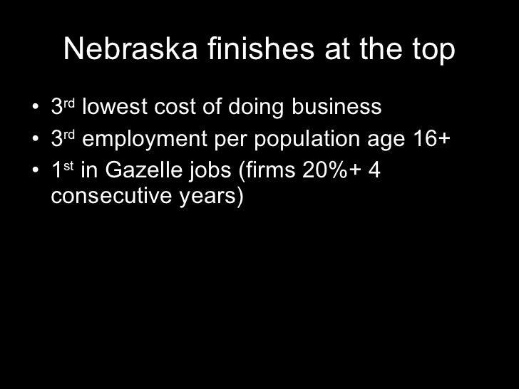 Nebraska finishes at the top <ul><li>3 rd  lowest cost of doing business </li></ul><ul><li>3 rd  employment per population...