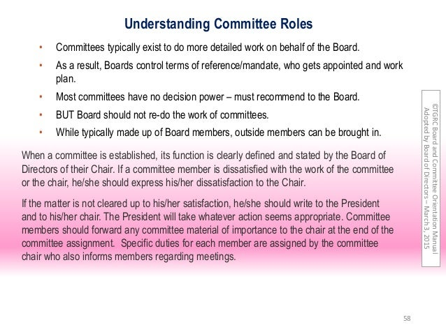 1 – Policy Committee Terms of Reference
