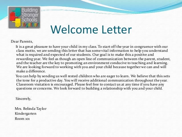 welcome letter dear parents