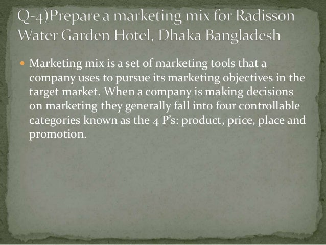 marketing mix of a hotel Marketing mix modeling (mmm) is statistical analysis such as multivariate regressions on sales and marketing time series data to estimate the impact of various marketing tactics (marketing mix) on sales and then forecast the impact of future sets of tactics.
