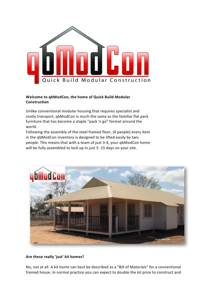 Welcome to qbModCon, the home of Quick Build Modular Construction  Unlike conventional modular housing that requires speci...