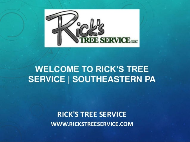 RICK'S TREE SERVICE WWW.RICKSTREESERVICE.COM WELCOME TO RICK'S TREE SERVICE | SOUTHEASTERN PA
