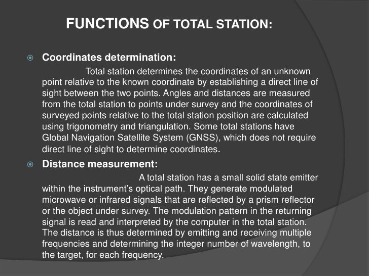 Surveying Electronic Distance Measurement : Welcome to the presentation on 'total station