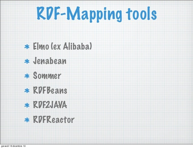 RDF-Mapping tools Elmo (ex Alibaba) Jenabean Sommer RDFBeans RDF2JAVA RDFReactor giovedì 19 dicembre 13