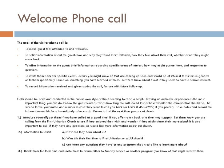 Welcoming the stranger presentation welcome phone callthe goal of the visitor altavistaventures Images