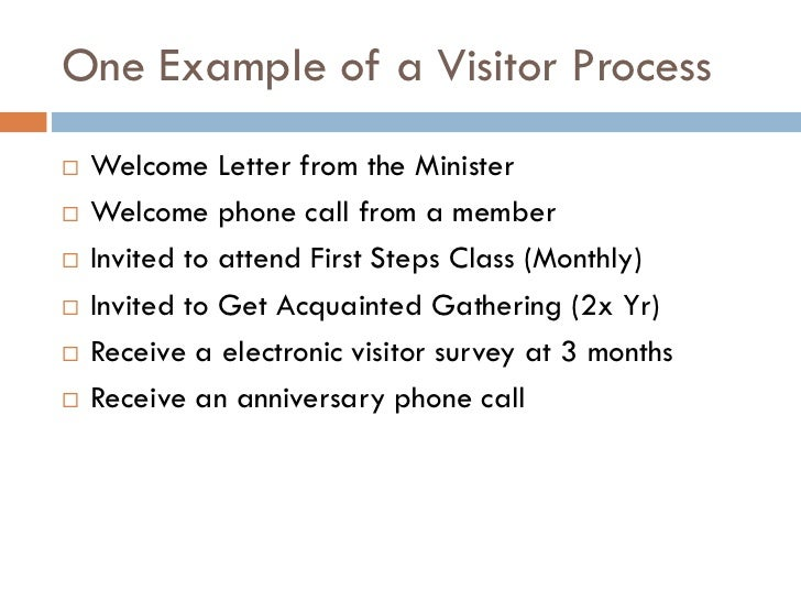 Welcoming the stranger presentation 8 one example of a visitor process welcome thecheapjerseys Images