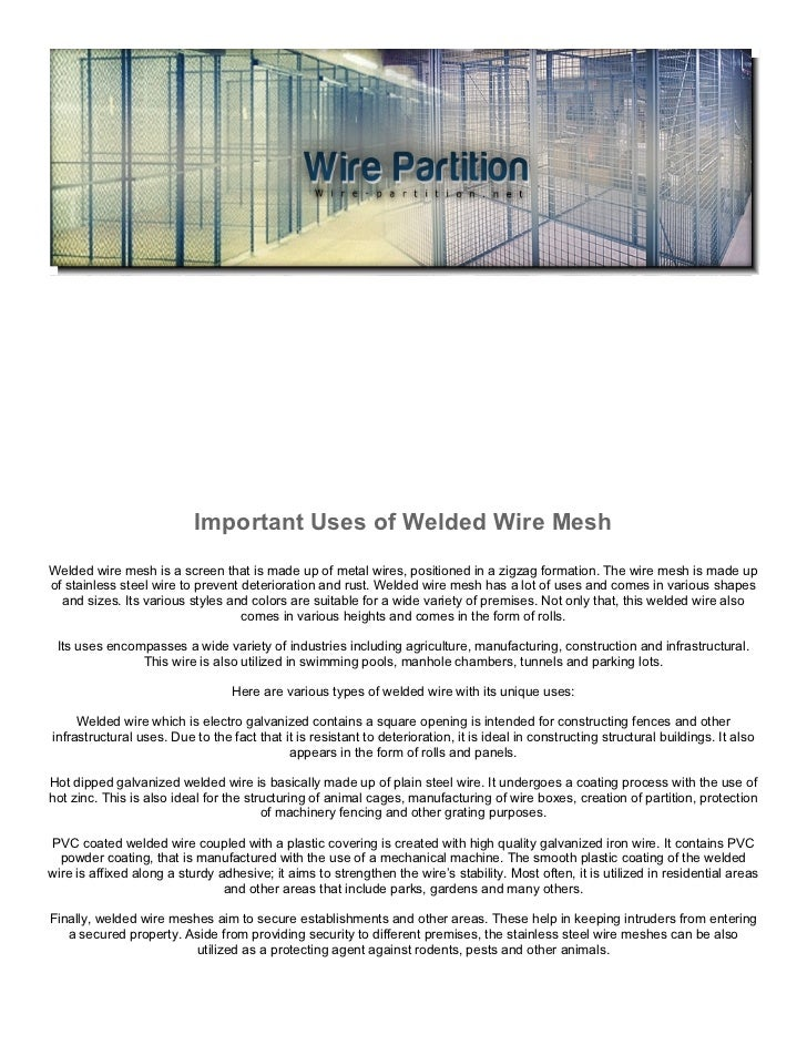 Important Uses of Welded Wire Mesh