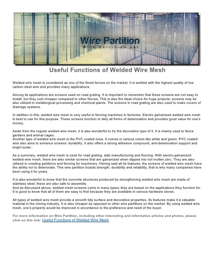Useful Functions of Welded Wire Mesh