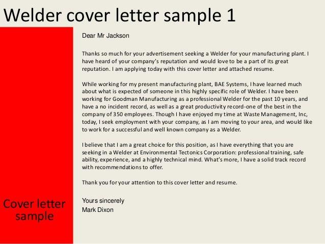 welder cover letter