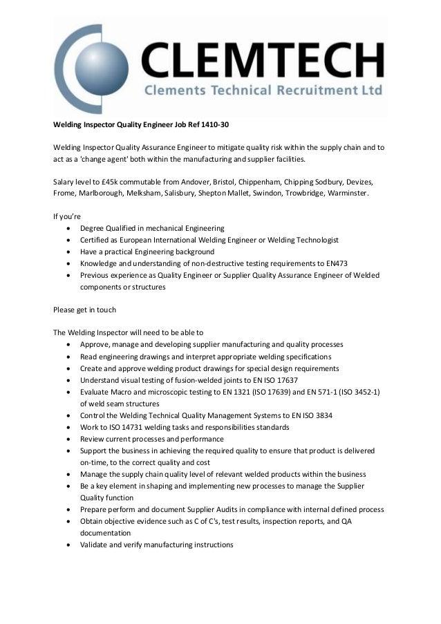 Welding Inspector Quality Engineer Job Ref 1410-30