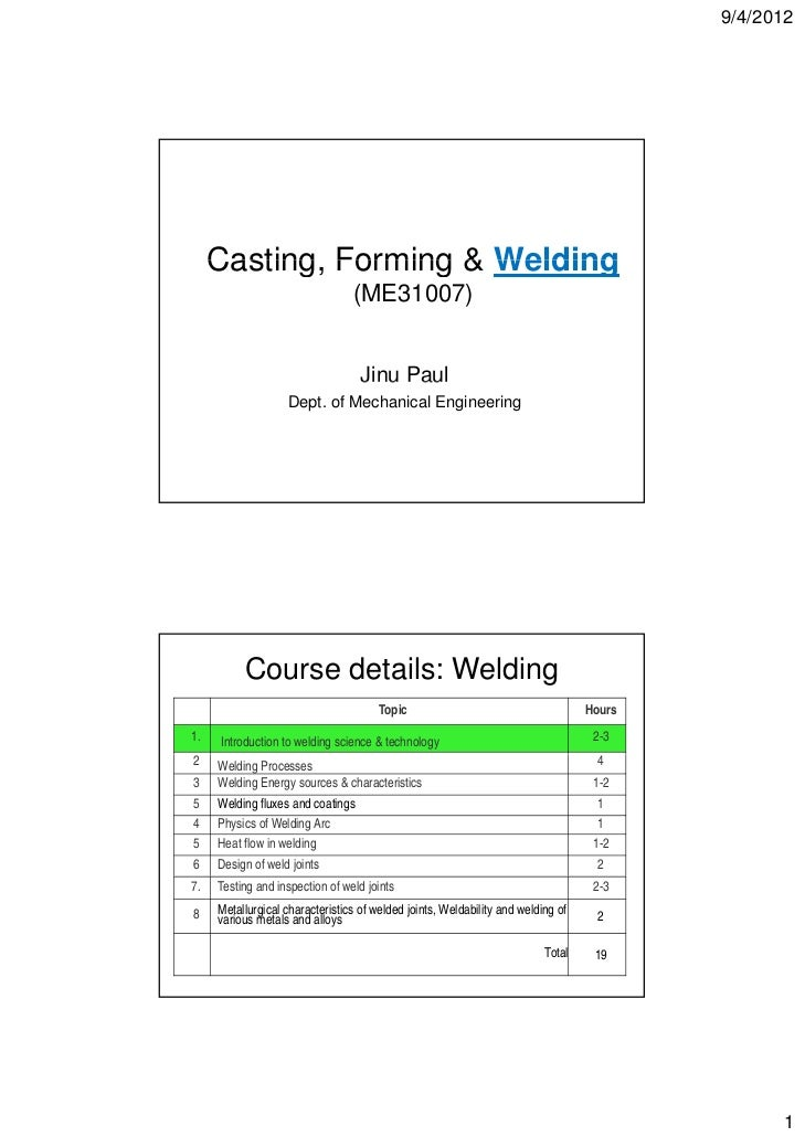 9/4/2012     Casting,     Casting Forming & Welding                                 (ME31007)                             ...
