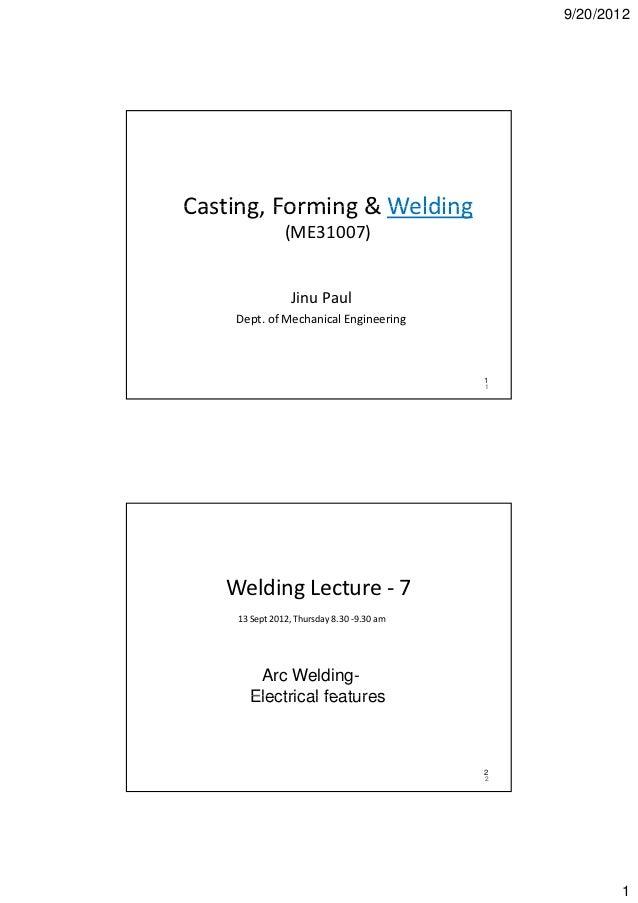 9/20/2012Casting,Forming&WeldingCasting Forming & Welding               (ME31007)                J u au               ...