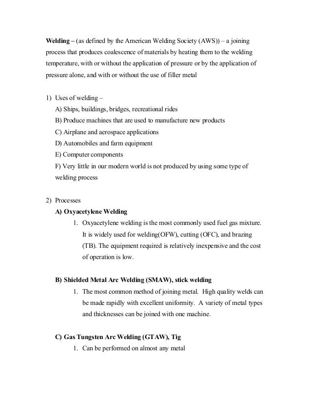 Notes on Shielded Metal-arc Welding (SMAW) welding process notes