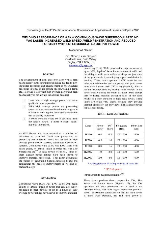 rd  Proceedings of the 3 Pacific International Conference on Application of Lasers and Optics 2008  WELDING PERFORMANCE OF...