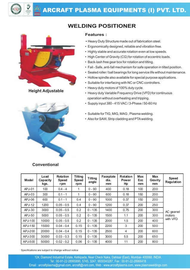 Model  Load Capacity kgs.  Rotation Speed rpm  Tilting Speed rpm  Tilting angle  Faceplate dia. mm  Rotation Power Hp  Max...