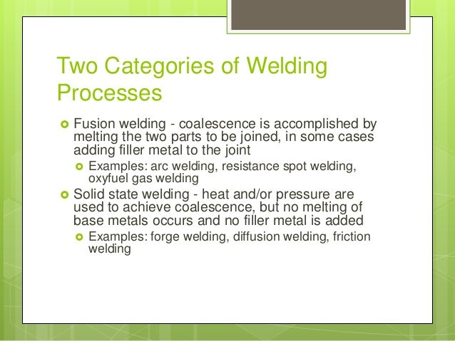 Fusion Welding Process - an overview