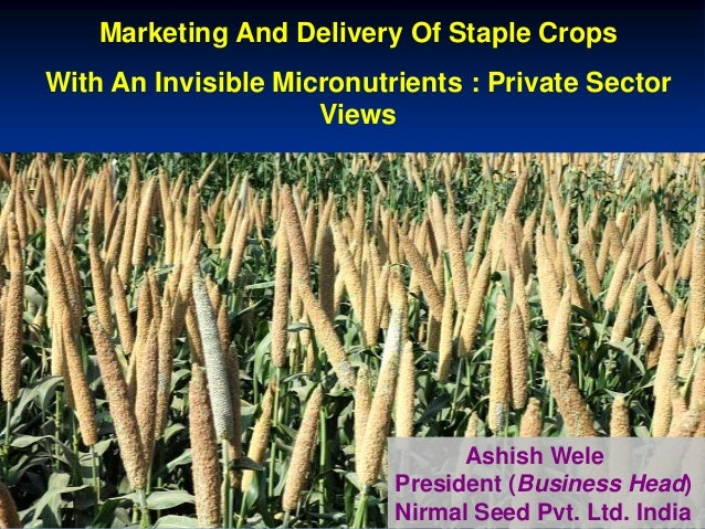 Marketing And Delivery Of Staple Crops With An Invisible Micronutrients : Private Sector Views Ashish Wele President (Busi...