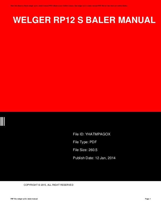 welger rp12 s baler manual rh slideshare net Cool Rp12 Logos Cool Rp12 Logos