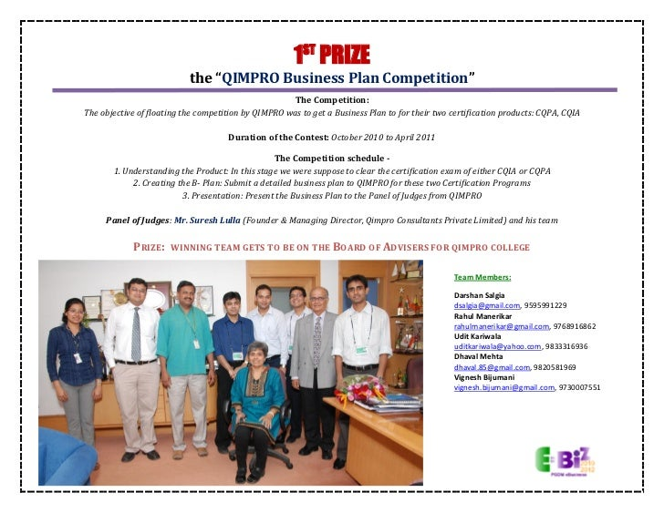 "1ST PRIZE                           the ""QIMPRO Business Plan Competition""                                                ..."