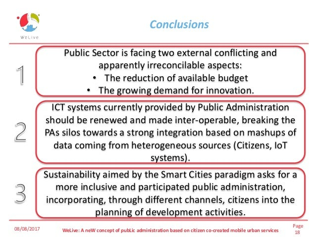Page 18WeLive: A neW concept of pubLic administration based on citizen co-created mobile urban services Conclusions 08/08/...