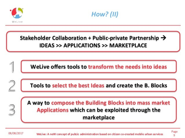 Page 9WeLive: A neW concept of pubLic administration based on citizen co-created mobile urban services How? (II) 08/08/201...