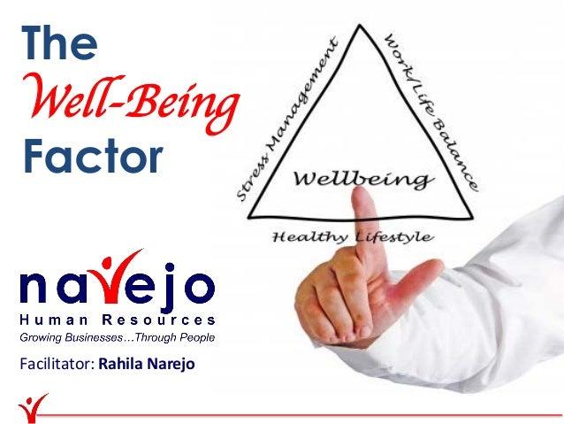 TheWell-BeingFactorFacilitator: Rahila Narejo