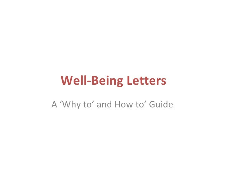 Well-Being LettersA 'Why to' and How to' Guide