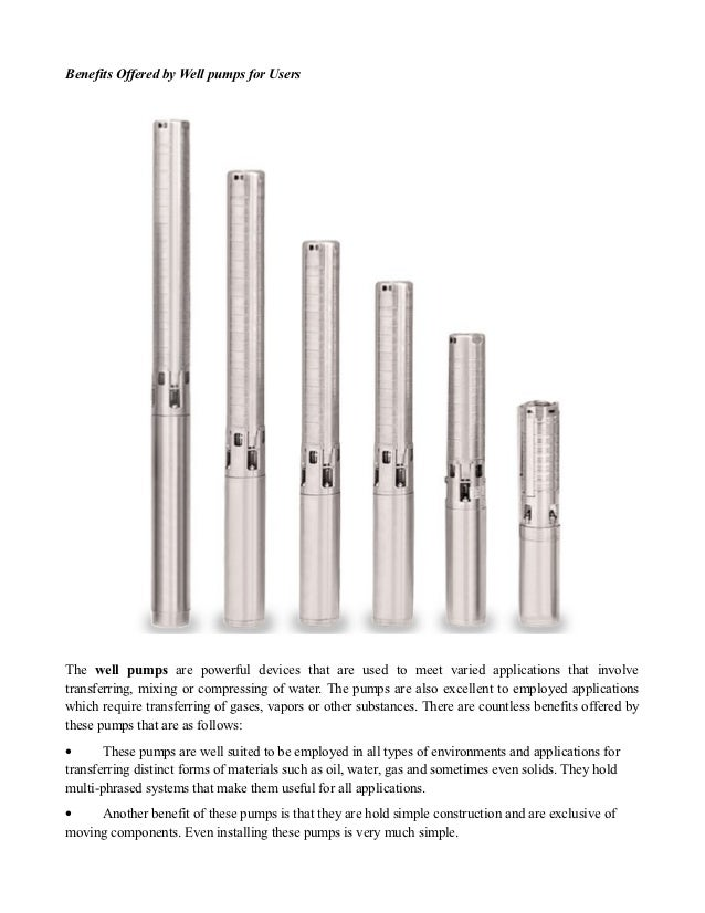 Benefits Offered by Well pumps for UsersThe well pumps are powerful devices that are used to meet varied applications that...
