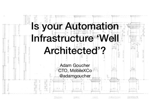 Is your Automation Infrastructure 'Well Architected'? Adam Goucher  CTO, MobileXCo  @adamgoucher