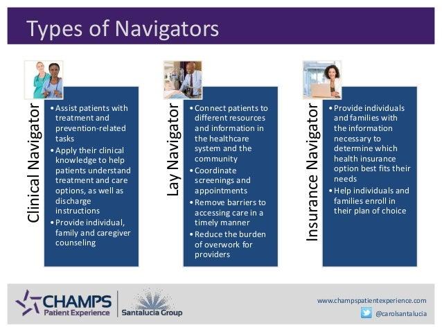 www.champspatientexperience.com @carolsantalucia Types of NavigatorsClinicalNavigator •Assist patients with treatment and ...