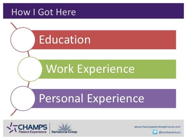 www.champspatientexperience.com @carolsantalucia How I Got Here Education Work Experience Personal Experience