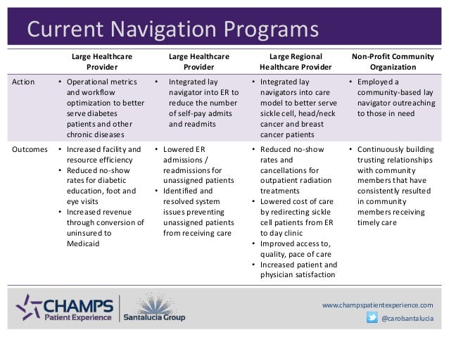 www.champspatientexperience.com @carolsantalucia Current Navigation Programs Large Healthcare Provider Large Healthcare Pr...