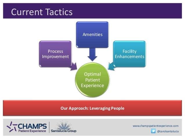 www.champspatientexperience.com @carolsantalucia Current Tactics Optimal Patient Experience Process Improvement Amenities ...