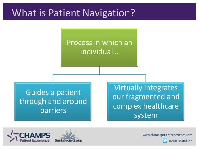 www.champspatientexperience.com @carolsantalucia What is Patient Navigation? Process in which an individual… Guides a pati...