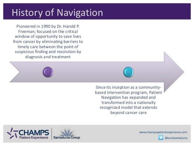 www.champspatientexperience.com @carolsantalucia History of Navigation Pioneered in 1990 by Dr. Harold P. Freeman; focused...