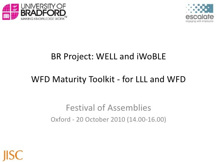 BR Project: WELL and iWoBLEWFD Maturity Toolkit - for LLL and WFD<br />Festival of Assemblies<br />Oxford - 20 October 201...