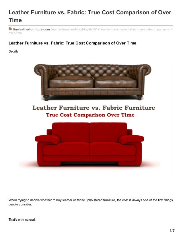 Bon Leather Furniture Vs. Fabric: True Cost Comparison Of Over Time  Fineleatherfurniture.com ...