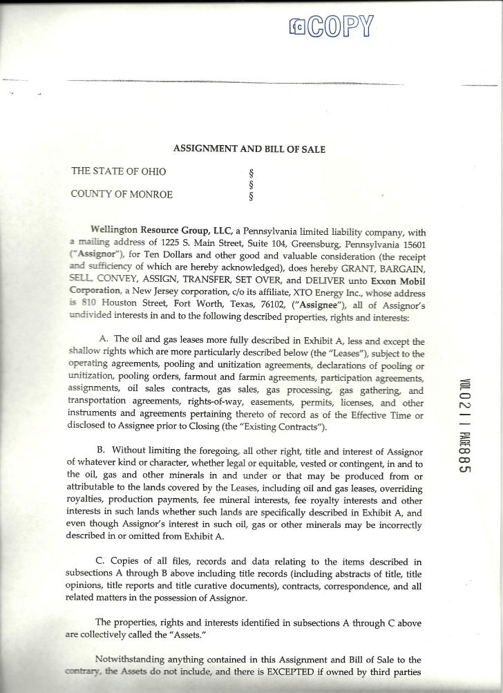 Wellington Resources and Exxon Mobil Bill of Sale - Monroe County, OH