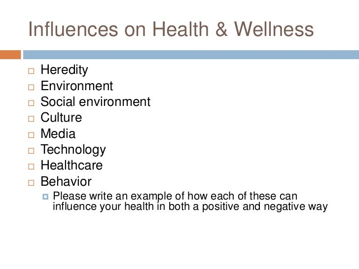 Influences on Health & Wellness<br />Heredity<br />Environment<br />Social environment<br />Culture<br />Media<br />Techno...