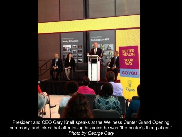 President and CEO Gary Knell speaks at the Wellness Center Grand Openingceremony, and jokes that after losing his voice he...