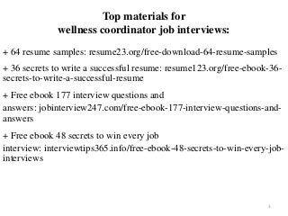 Wellness Coordinator Resume Sample Pdf Ebook Free Download