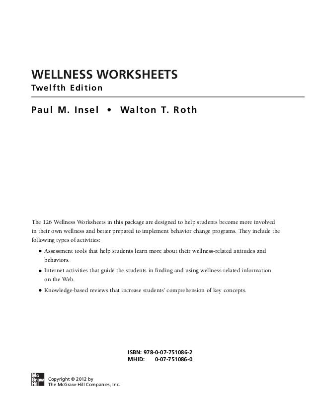 Health And Wellness Worksheets - Checks Worksheet