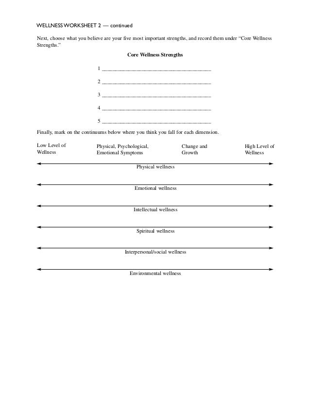 Health And Wellness Worksheets - Templates and Worksheets