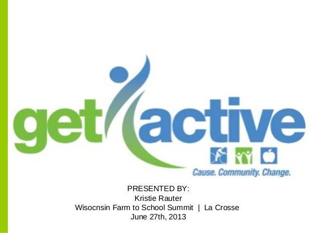 PRESENTED BY: Kristie Rauter Wisocnsin Farm to School Summit | La Crosse June 27th, 2013